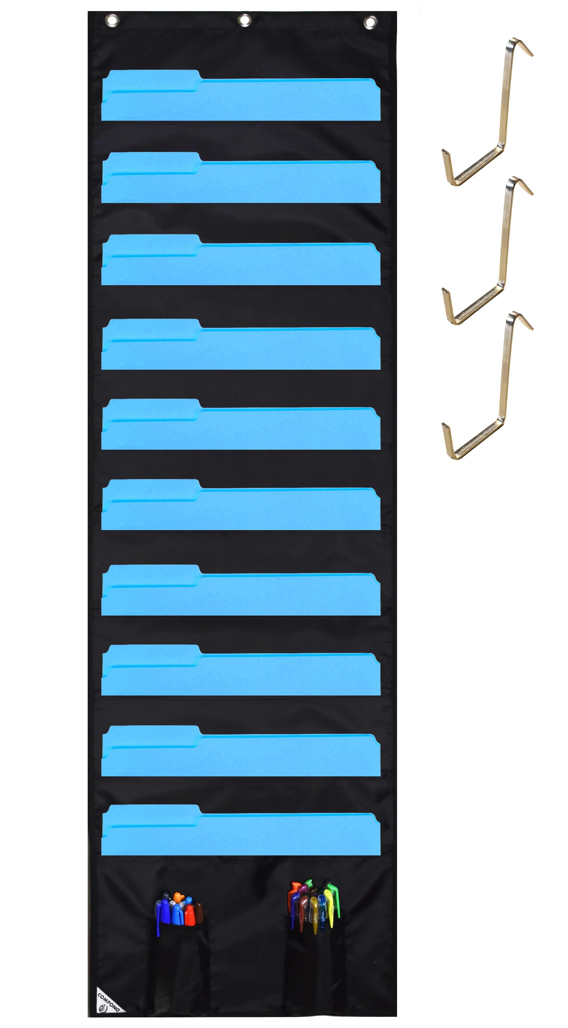 Compono wall storage pocket chart file organizer with free bonus door hangers best also rh walmart