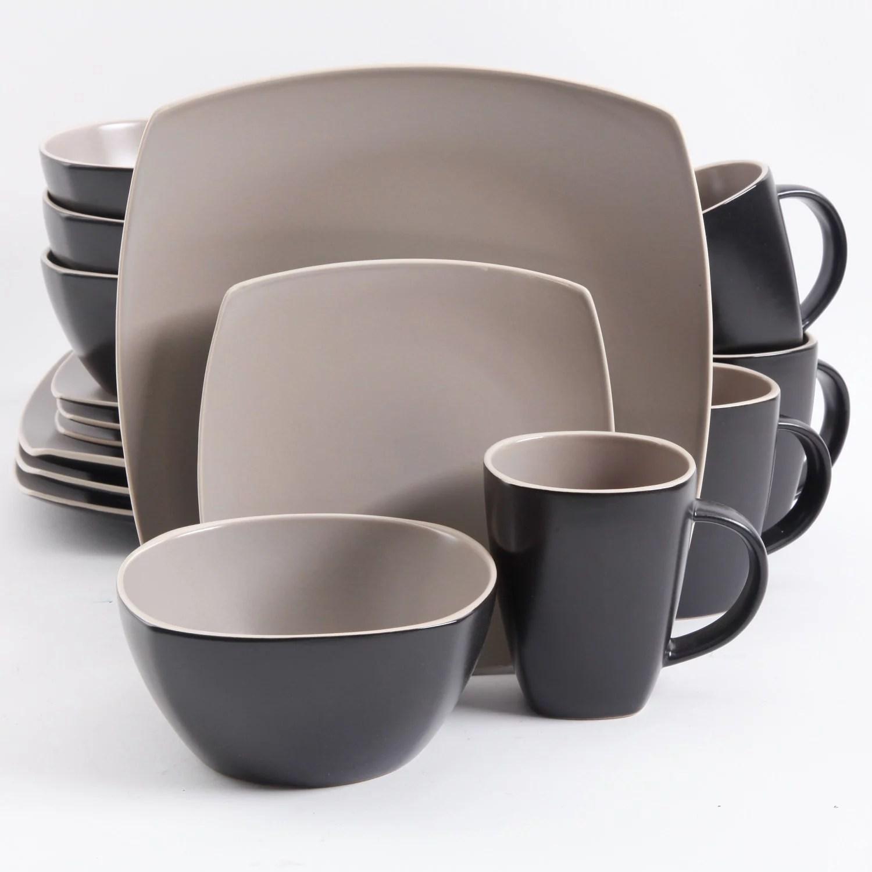 gibson home soho lounge square 16 pc dinnerware set matte taupe walmart com