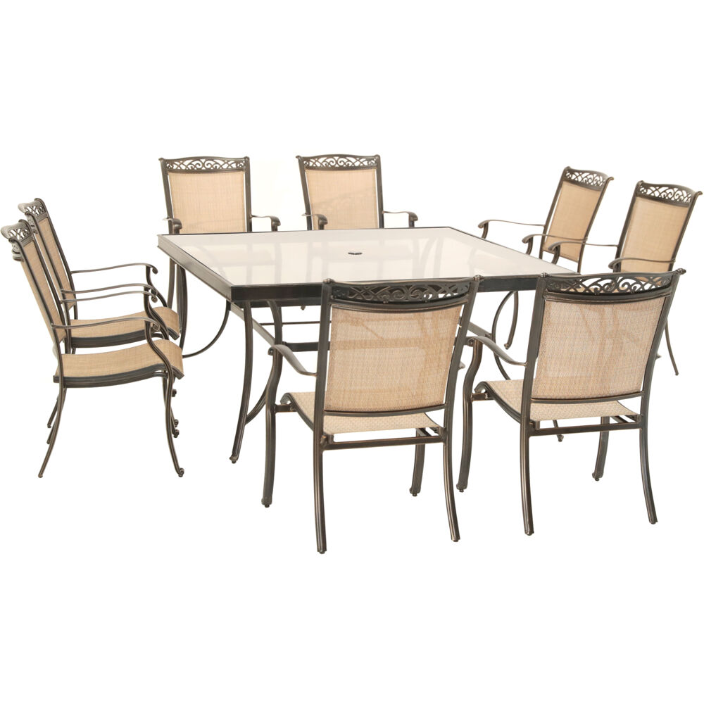 hanover fontana 9 piece outdoor dining set weatherproof garden lawn patio furniture with stationary chairs and square table