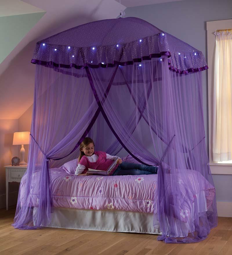 sparkling lights canopy bower for kids beds size twin to queen