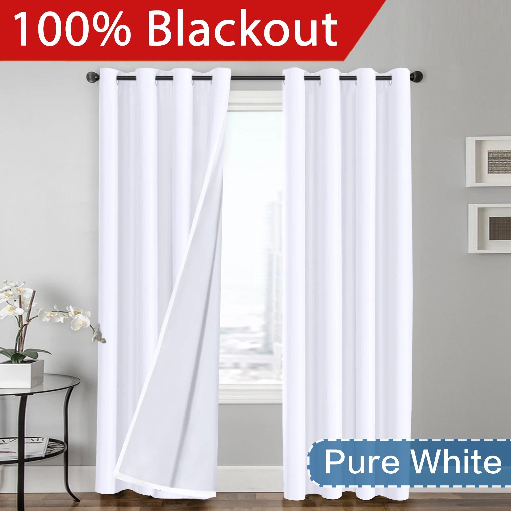 flamingop 100 blackout faux silk satin grommet curtain panels set of 2