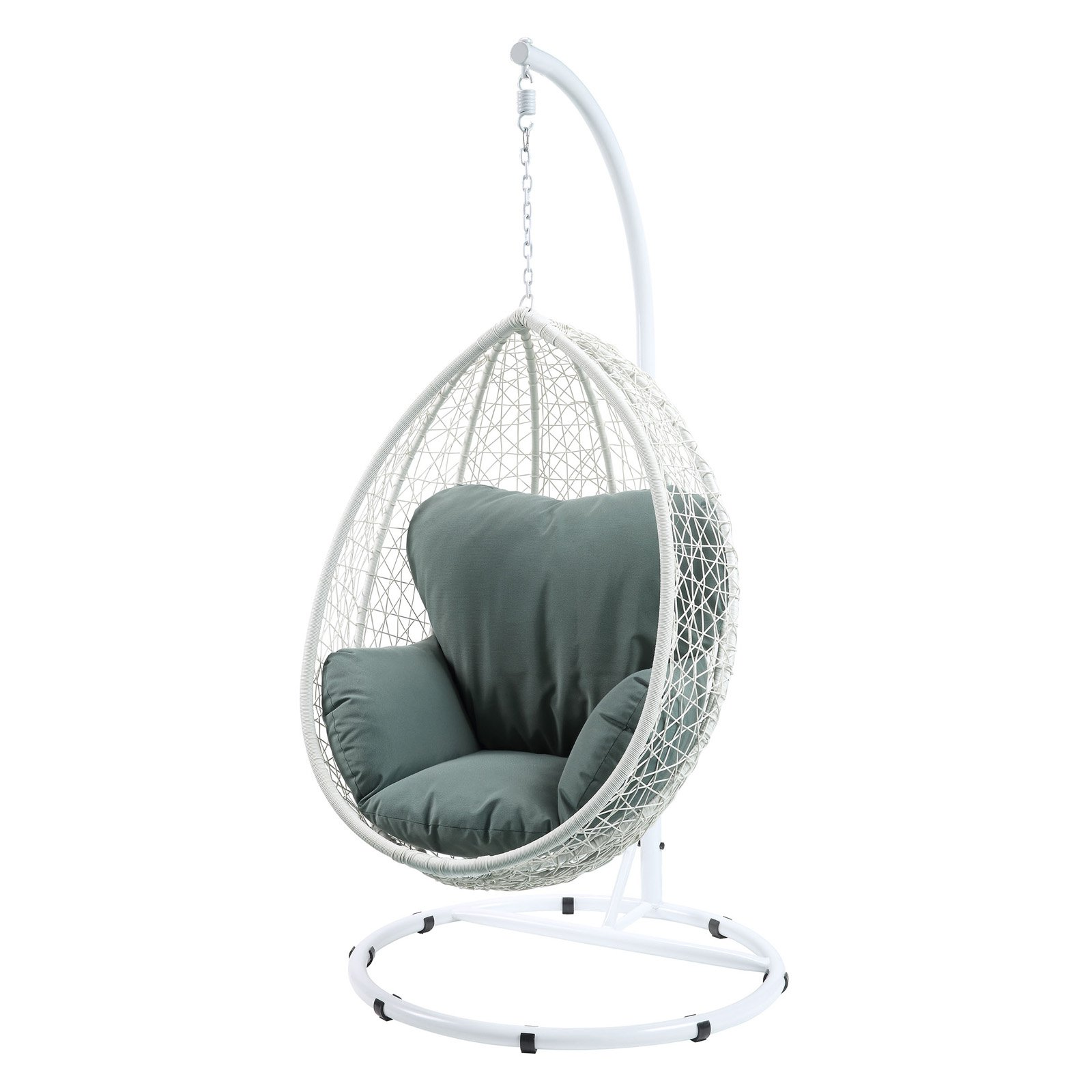 Hanging Egg Chair Outdoor Acme Furniture Simona White Wicker Outdoor Hanging Egg Chair With Cushion