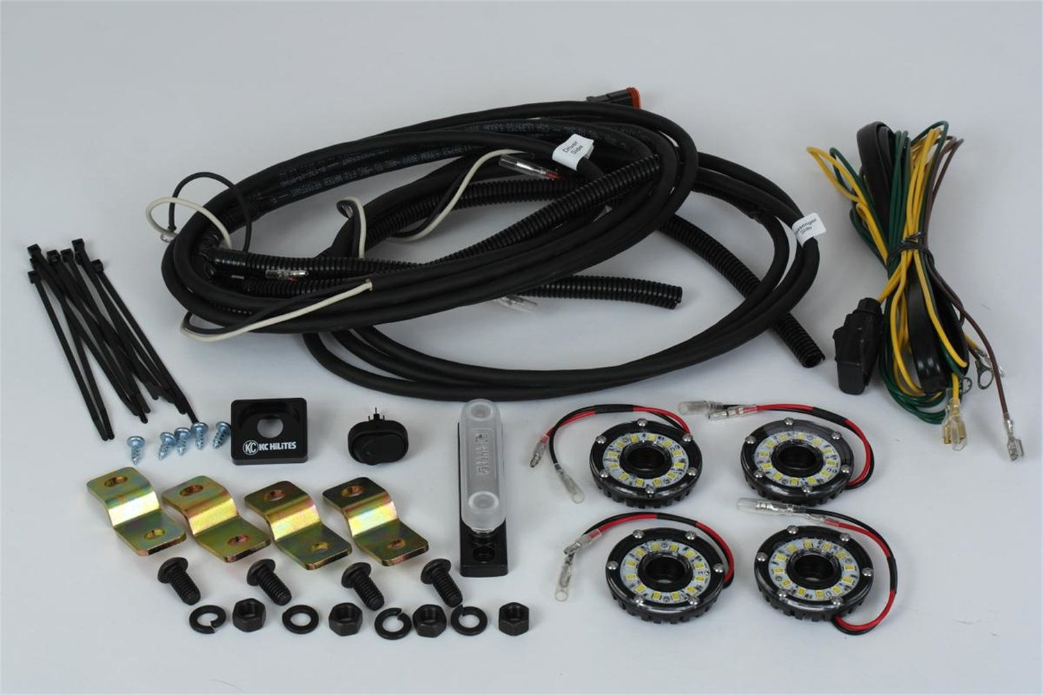 hight resolution of kc hilites 91020 cyclone led rock light kit clear 4 pc incl cyclone lights hi capacity busbar deluxe wiring harness mounts w complete installation