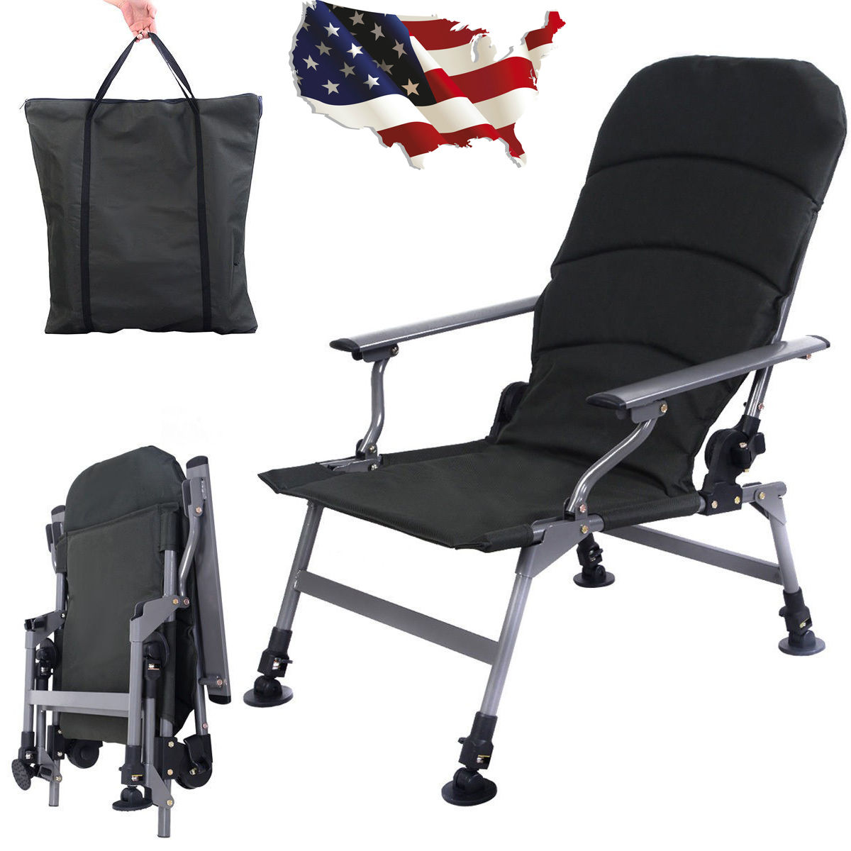green fishing chair clear dining protectors portable folding adjustable camping outdoor w carry bag army