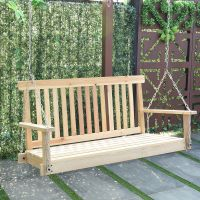 Costway 4 FT Porch Swing Natural Wood Garden Swing Bench ...