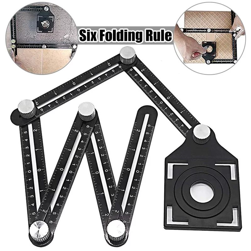 aluminum alloy multi function six fold ruler angle finder universal angler ruler metal drill guide locator tile opening hole angle template tool