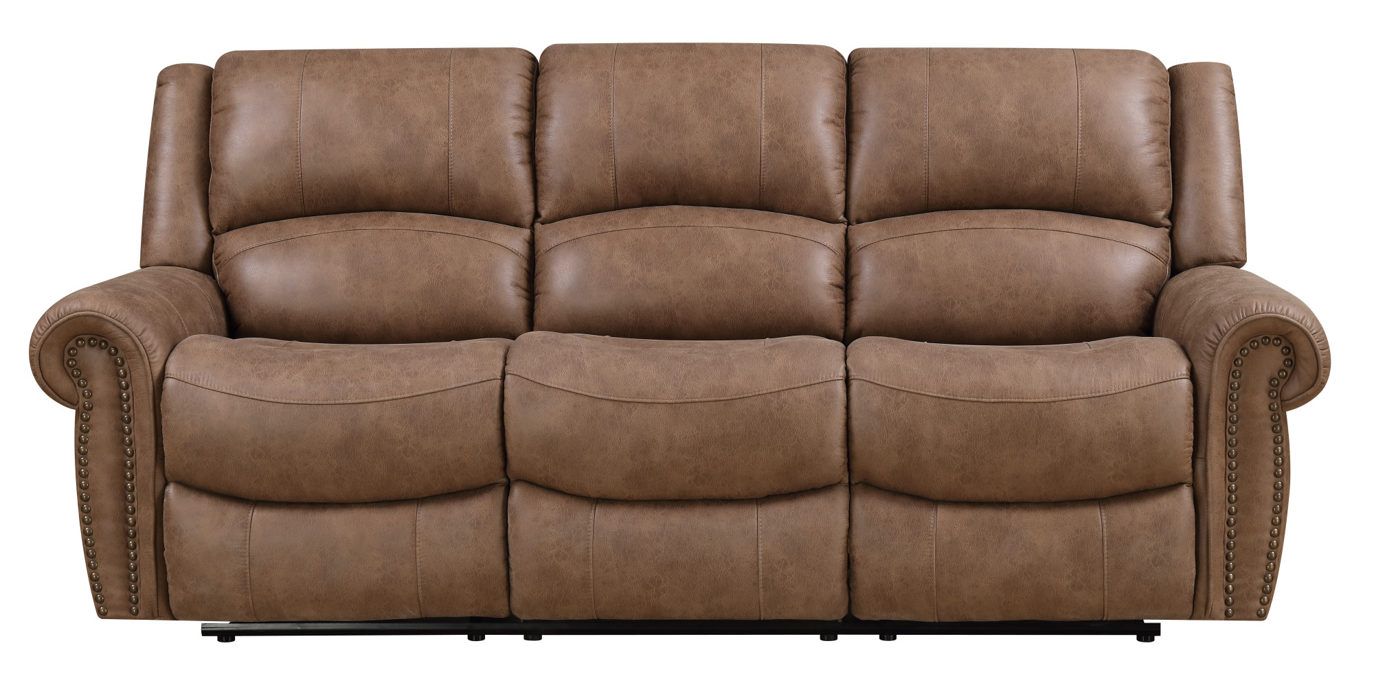 reclining sofa with nailhead trim outdoor perth emerald home spencer brown dual recliners and pillow back