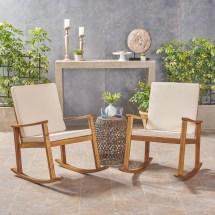 Outdoor Acacia Wood Rocking Chair With Cushions Teak Cream