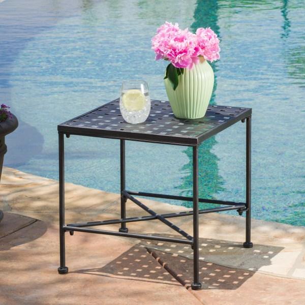Alexander Outdoor Iron End Table Black