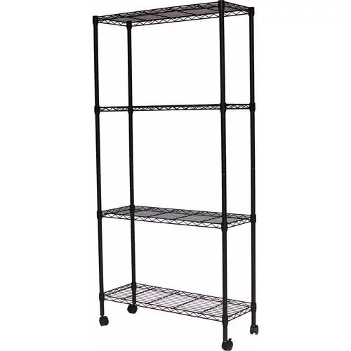 muscle rack 36 w x 14 d x 54 h mobile shelving unit 130 800 lb capacity black