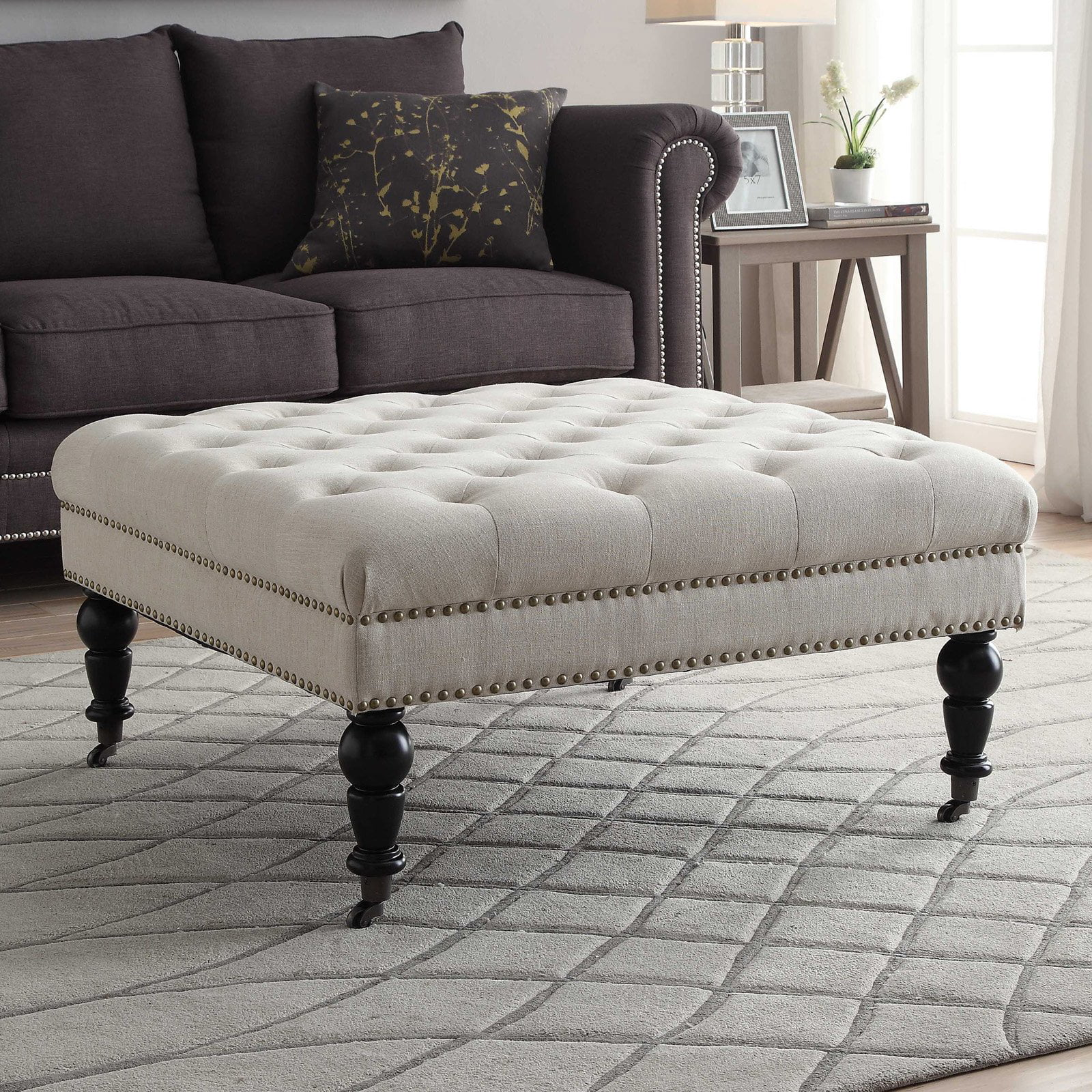 linon isabelle linen square tufted ottoman natural