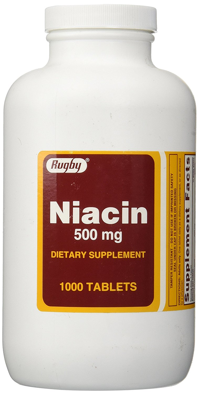 Rugby Niacin Dietary Supplement Tablets 500mg 1000 ...