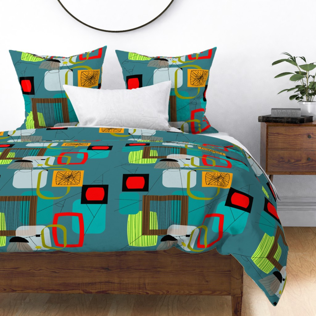 mid century modern eames era inspired mid century sateen duvet cover by roostery walmart com