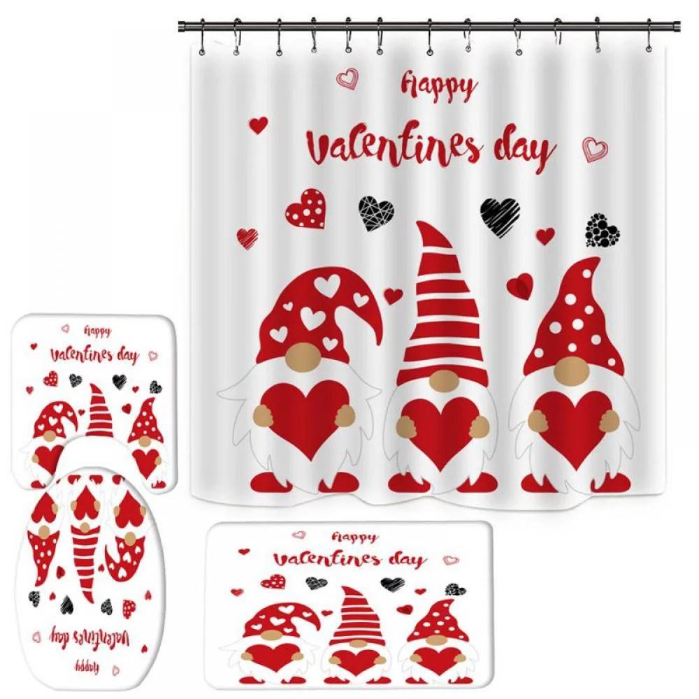 71 valentine s day love hearts shower curtain set for bathroom decor w hooks walmart com walmart com