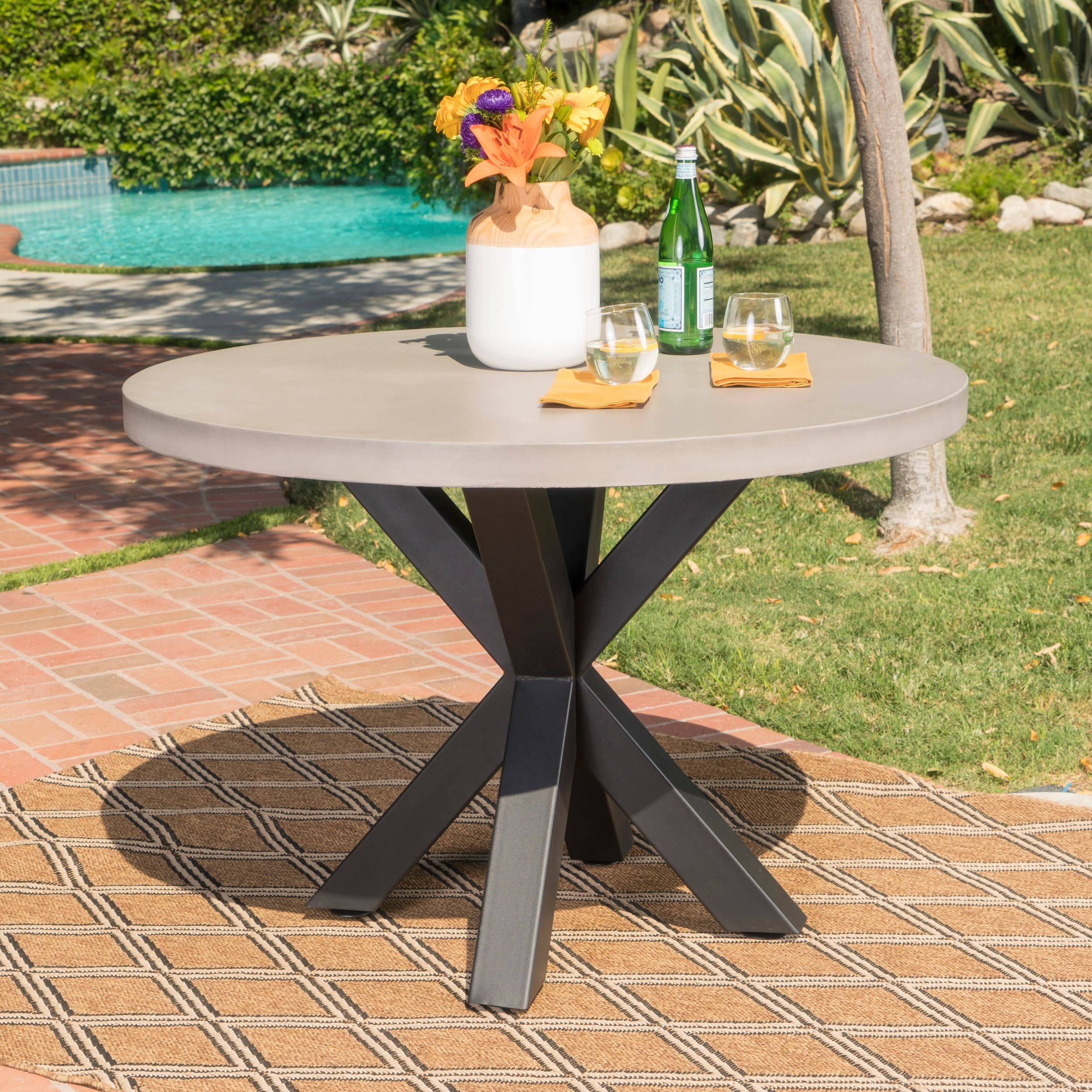 concrete kitchen table matte black faucet christopher knight home teague outdoor round light weight dining by