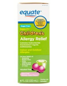 Equate sugar free childrens allergy relief certirizine dye bubble gum suspension oz walmart also rh