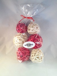 Decorative Spheres White and Red Rattan Vase Filler ...