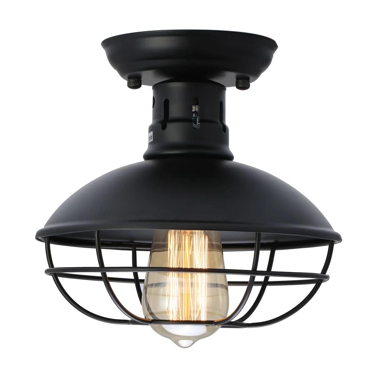 industrial metal cage ceiling light e26 rustic mini semi flush mounted pendant lighting dome bowl shaped lamp fixture farmhouse style for foyer