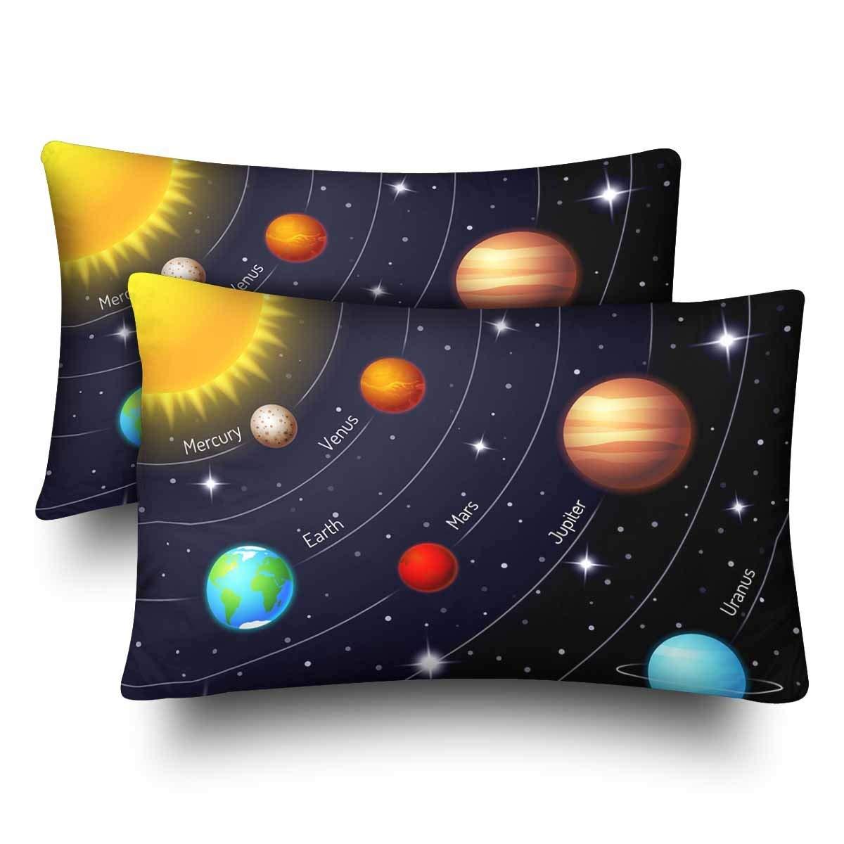 gckg solar system orbit sun earth mars twinkling night sky star pillow cases pillowcase 20x30 inches set of 2