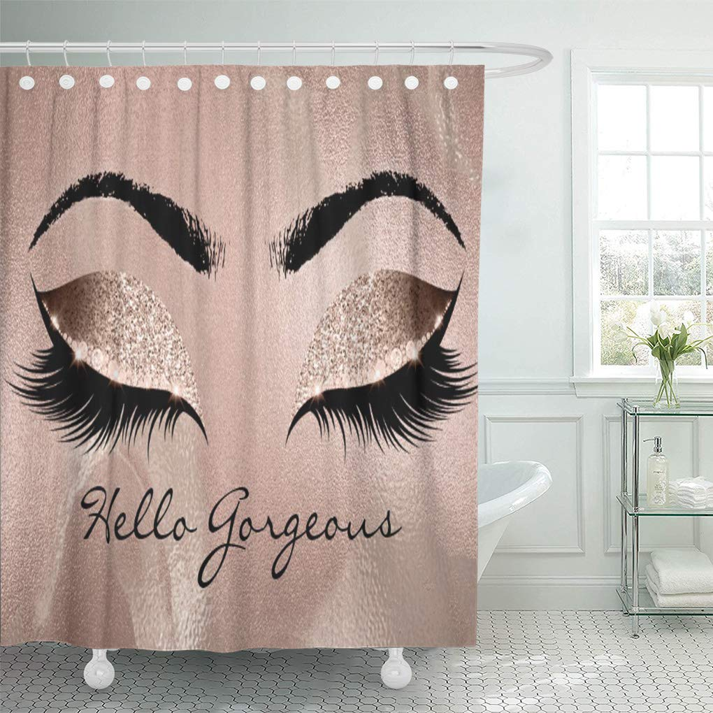 cynlon pink diamond rose beauty marble makeup lashes hello sleep bathroom decor bath shower curtain 66x72 inch