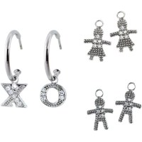 "CZ Platinum over Sterling Silver Girl, Boy and ""XO ..."