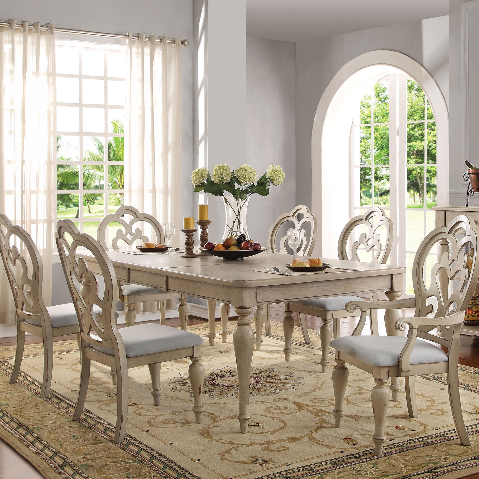 antique white living room tables large rugs for uk acme abelin dining table walmart com