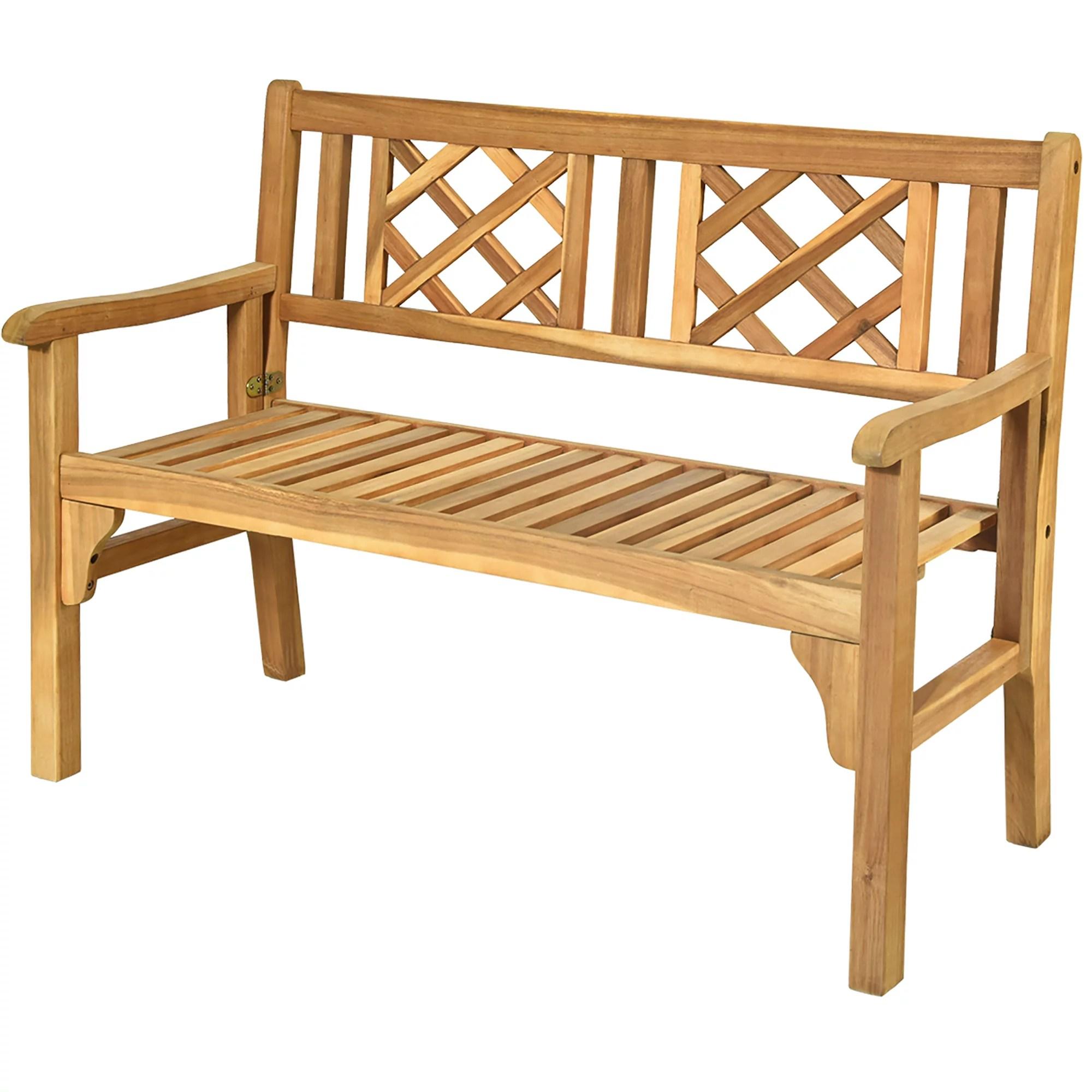 costway patio outdoor solid wood bench folding loveseat chair park garden deck furniture
