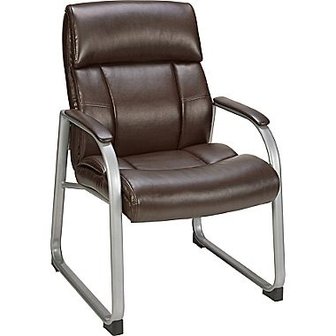 brown office guest chairs wegner wing chair staples herrick bonded leather walmart com