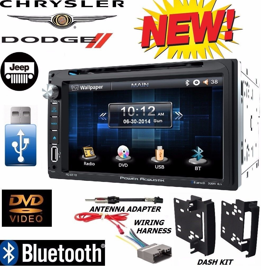 hight resolution of chrysler jeep dodge power acoustik bluetooth double din dvd stereo kit harness walmart com