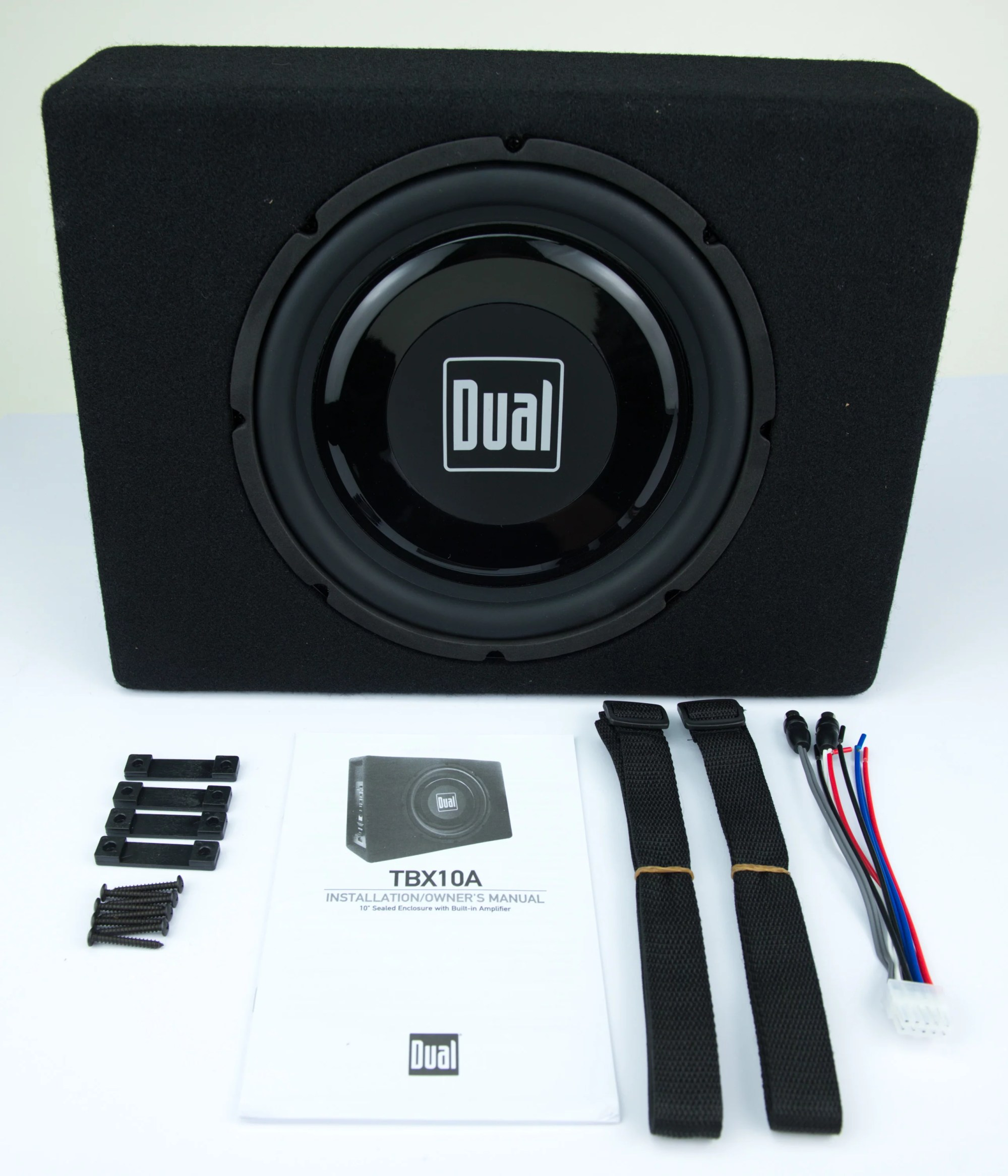 hight resolution of dual electronics tbx10a 10 inch shallow high performance powered enclosed subwoofer with built in amplifier 300 watts of peak power walmart com