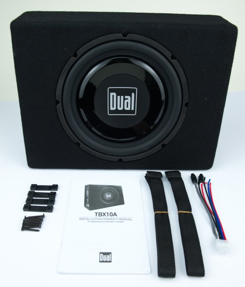 small resolution of dual electronics tbx10a 10 inch shallow high performance powered enclosed subwoofer with built in amplifier 300 watts of peak power walmart com