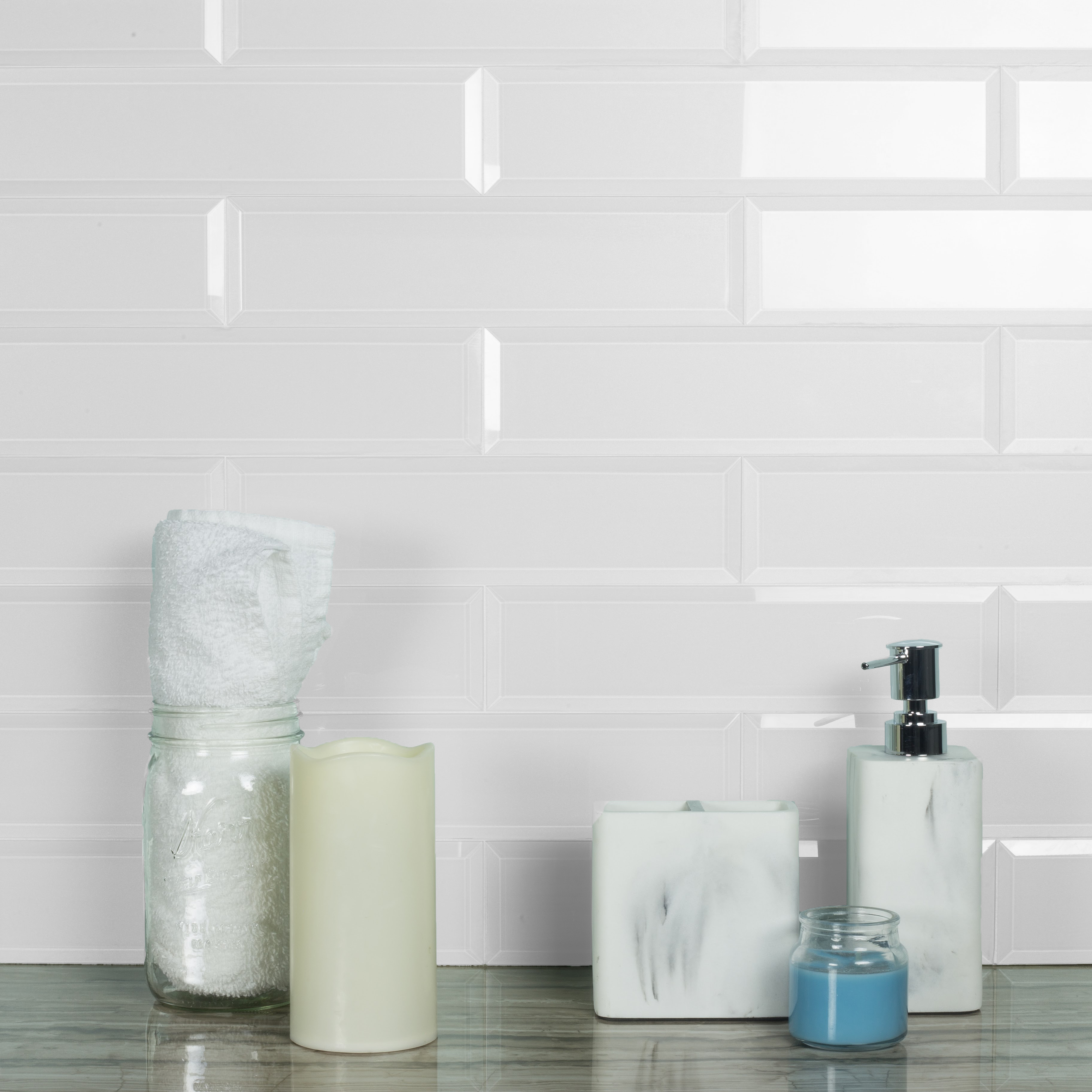 abolos frosted elegance 3 x 12 glass subway tiles in glossy white 14sqft 56pc box walmart com