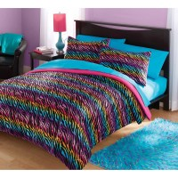 Your Zone Mink Rainbow Zebra Bedding Comforter Set