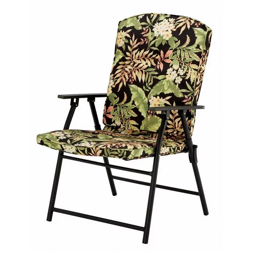 patio folding chairs padded office chair and ottoman set mainstays fabric black tropical walmart com