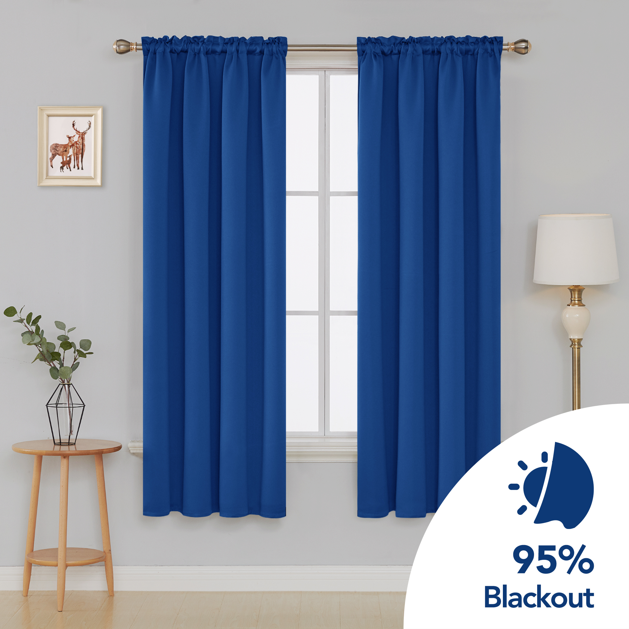 deconovo royal blue blackout curtains rod pocket curtain panels room darkening curtains for bedroom 52 w x 72 l inch 2 panels