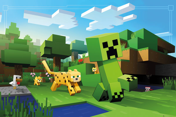 minecraft gaming poster print ocelot chasing creeper size 36 x 24