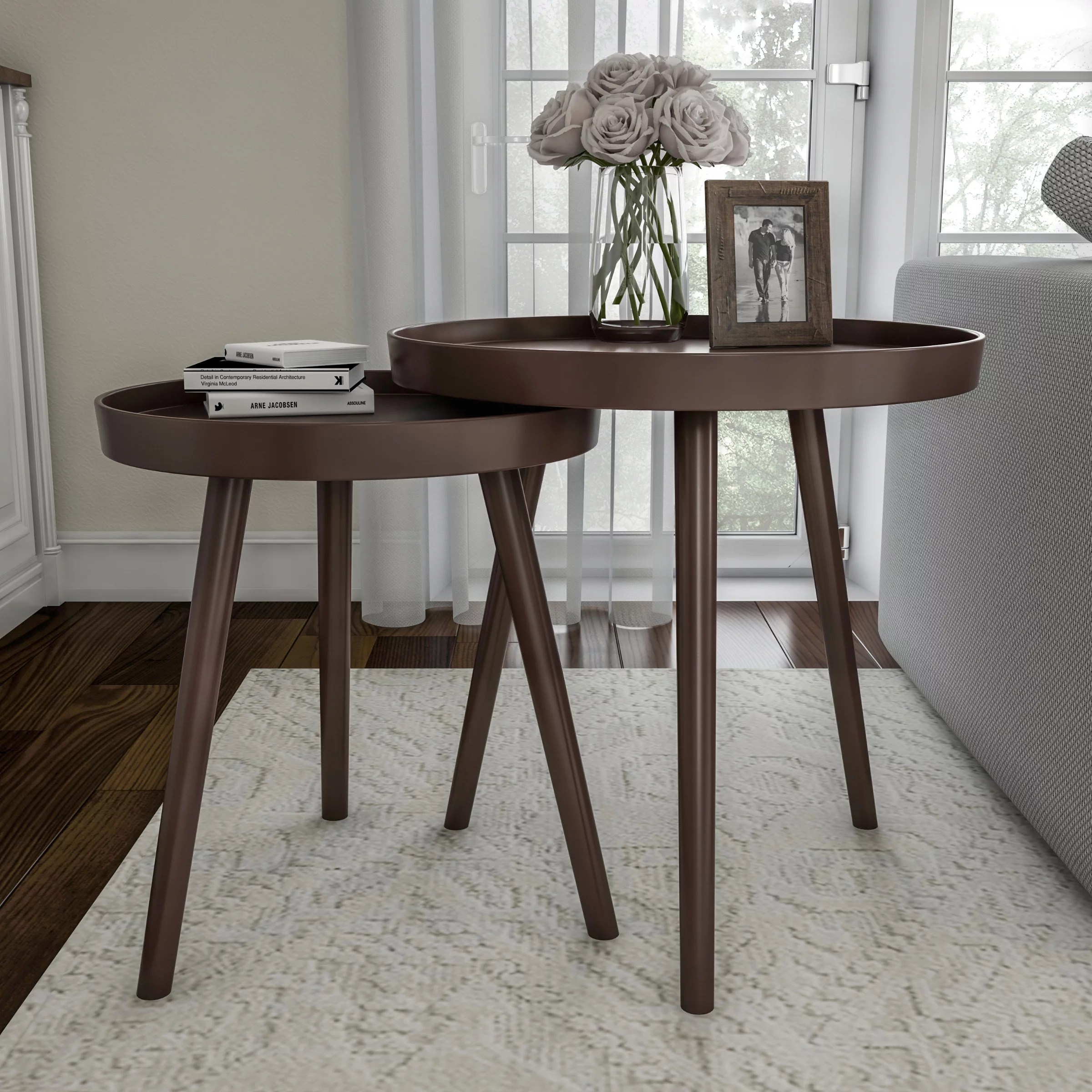 Nesting End Tables Set Of 2 Round Mid Century Modern Accent Table With Tray Top In Brown Side Table For Bedroom Living Room Office By Lavish Home Walmart Com Walmart Com