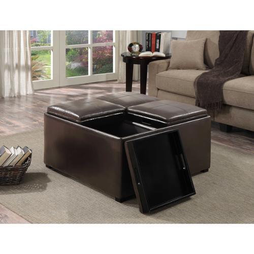 franklin square upholstered storage ottoman with 4 serving trays