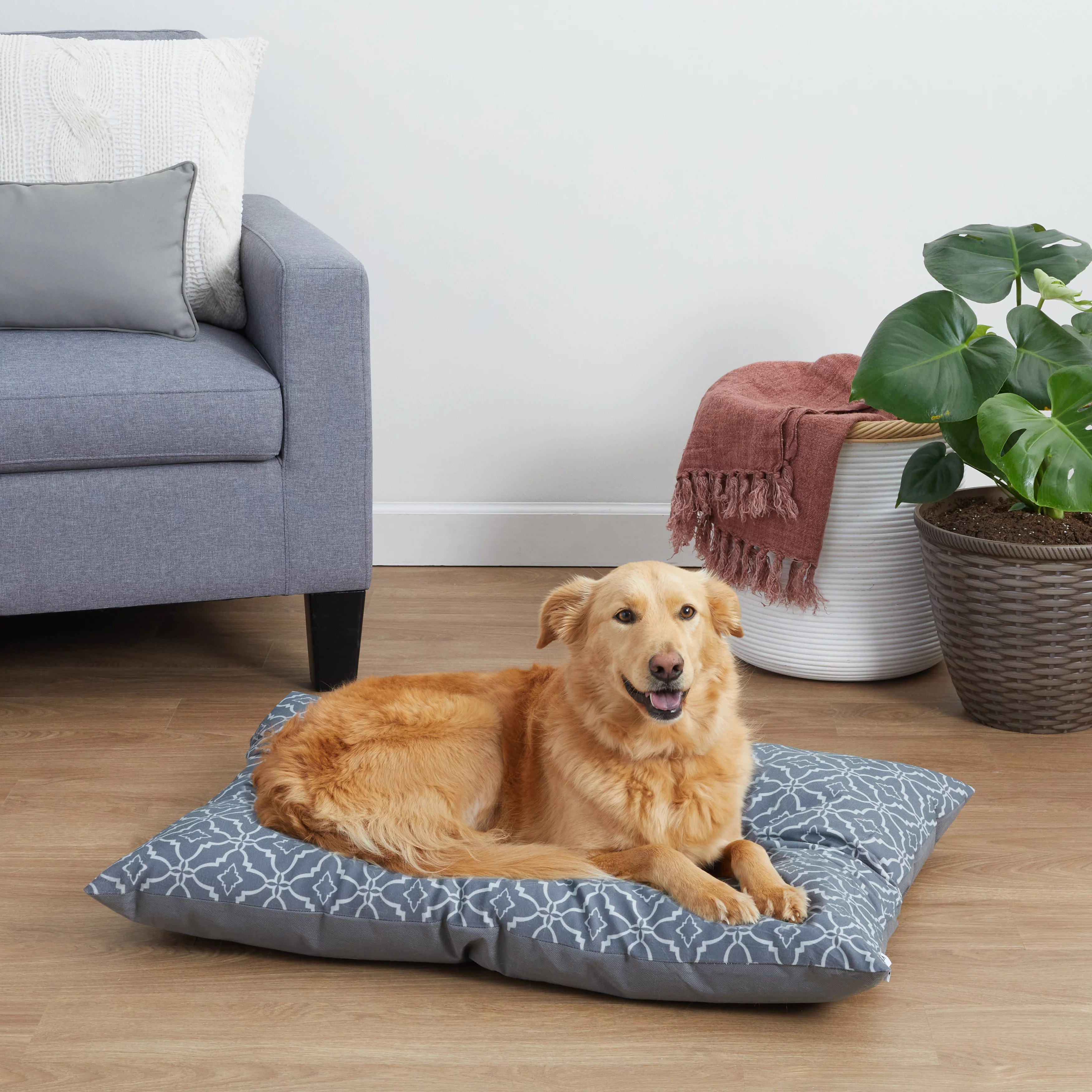 vibrant life pillow style dog bed for large dogs large grey walmart com