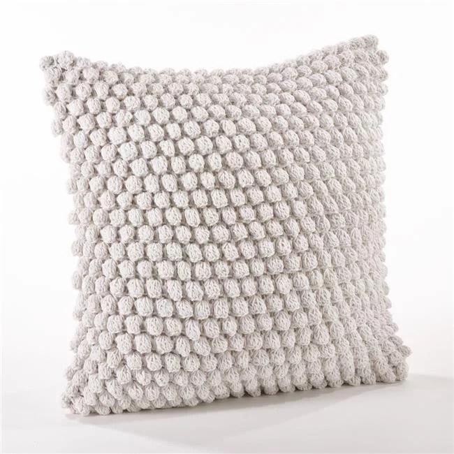 saro 3519 w20s 20 in crochet pompom throw pillow off white