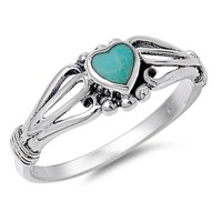 Women's Heart Simulated Turquoise Promise Ring ( Sizes 1 2 ...