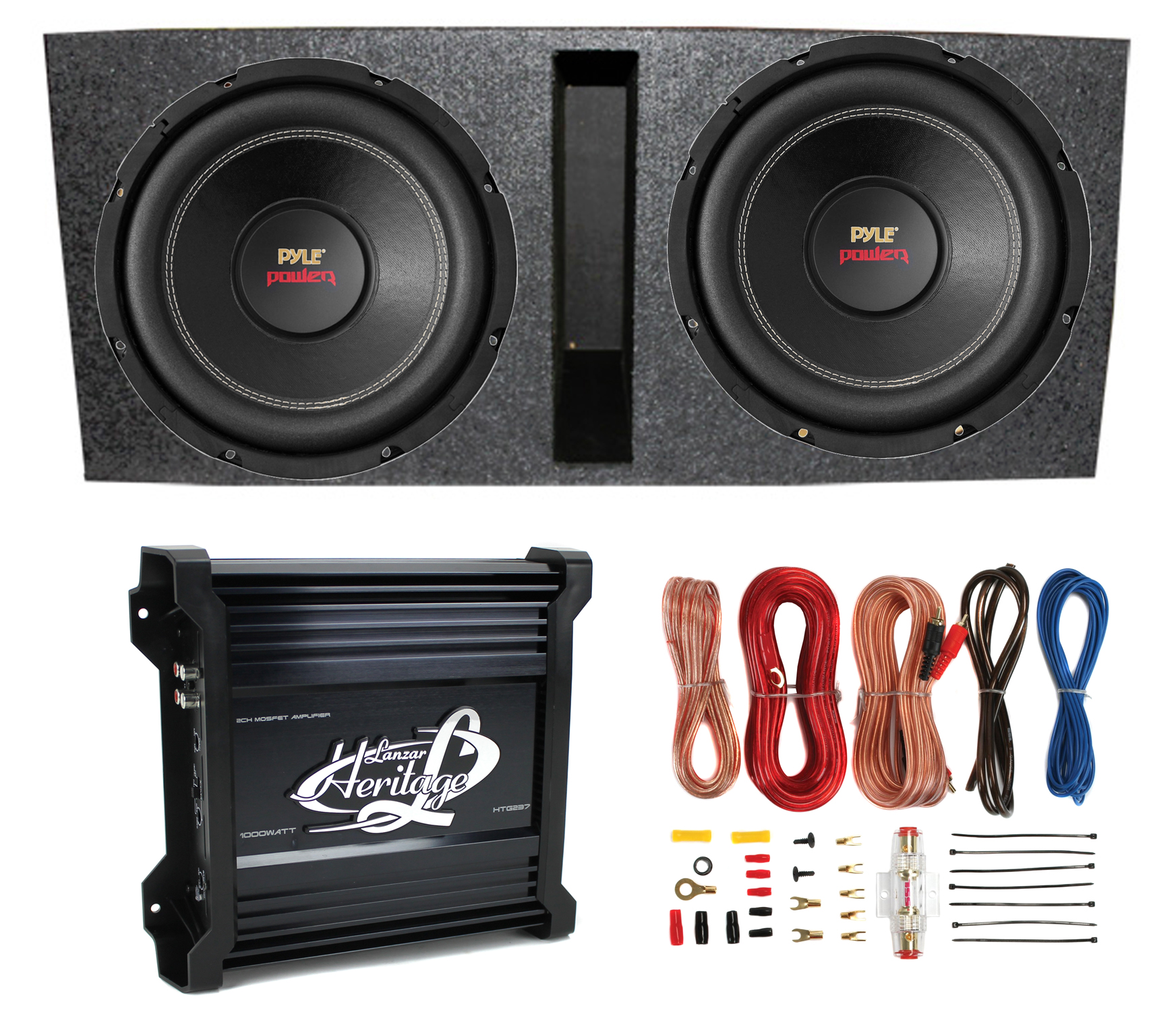 medium resolution of 2 pyle 15 plpw15d subwoofers vented box lanzar 2 channel amp rh walmart com pyle driver