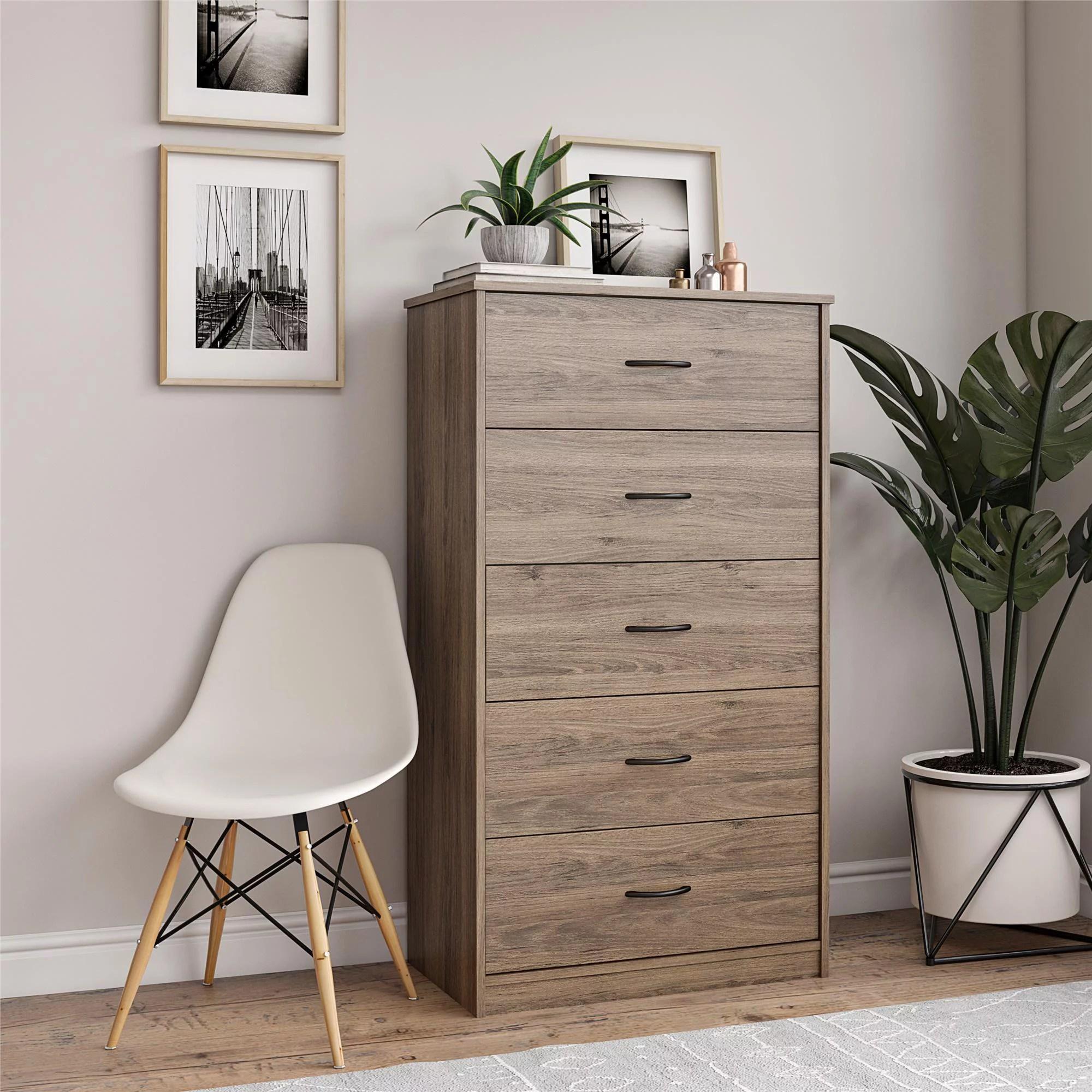 mainstays classic 5 drawer dresser rustic oak finish