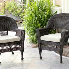 Comfortable Wicker Chairs Chair Accessories Lahore Set Of 4 Espresso Resin Outdoor Patio Garden Brown Cushions Walmart Com