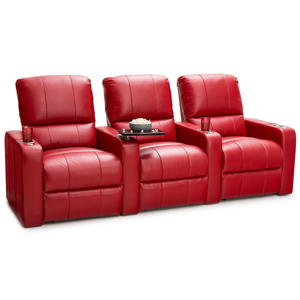 theater chairs with cup holders stretch sofa chair covers seatcraft millenia leather home seating power recline red row of 3 walmart com