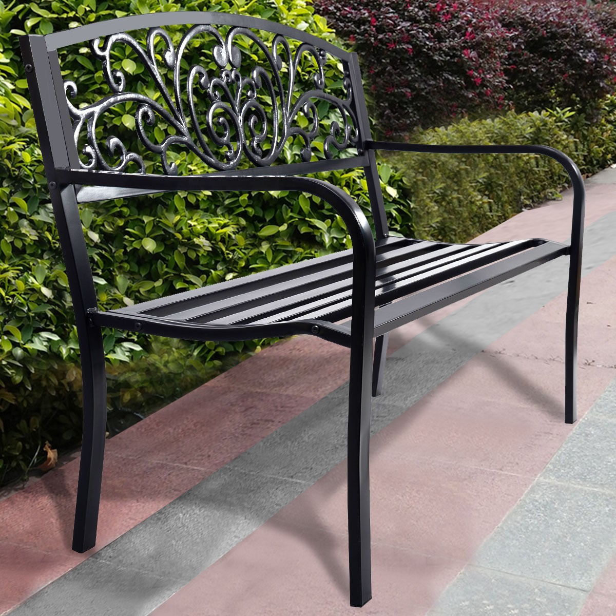 Black Patio Bench 2 Seat Outdoor Lawn & Garden Decoration