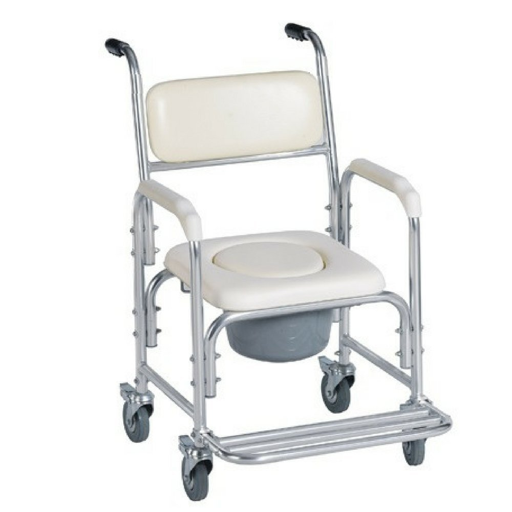 Bedside Commode Chair Shower Bedside Commode Chair Padded Seat With Wheels By Healthline Medical Commode Toilet Rolling Shower Chair With Casters 4 Wheels Brakes