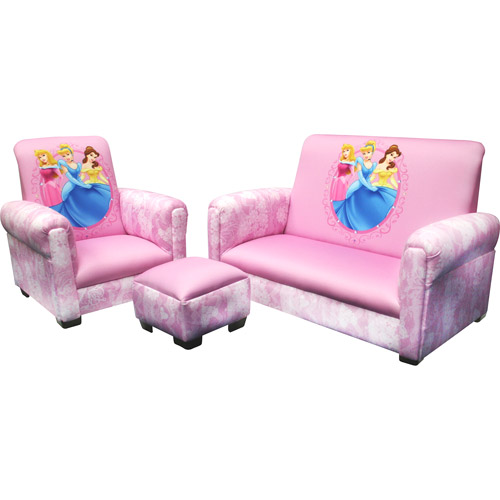 Disney Princess Hearts and Crowns Toddler Sofa, Chair and