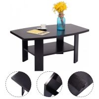 Costway Wood Coffee End Table Contemporary Living Room ...