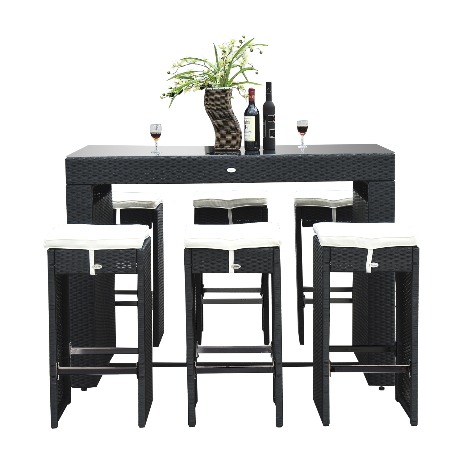 rattan table and chairs where to buy kitchen outsunny 7pc wicker bar stool dining set black walmart com